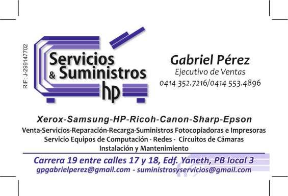 Suministros & servicios hp c.a servicios tecnicos de impresoras, computadoras y recargas.