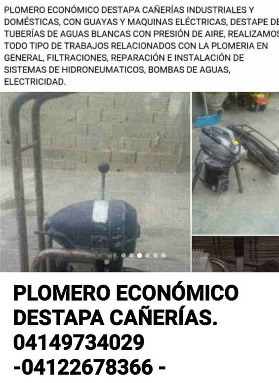 (04149734029 - 04122678366) plomero económico destapa cañerías.